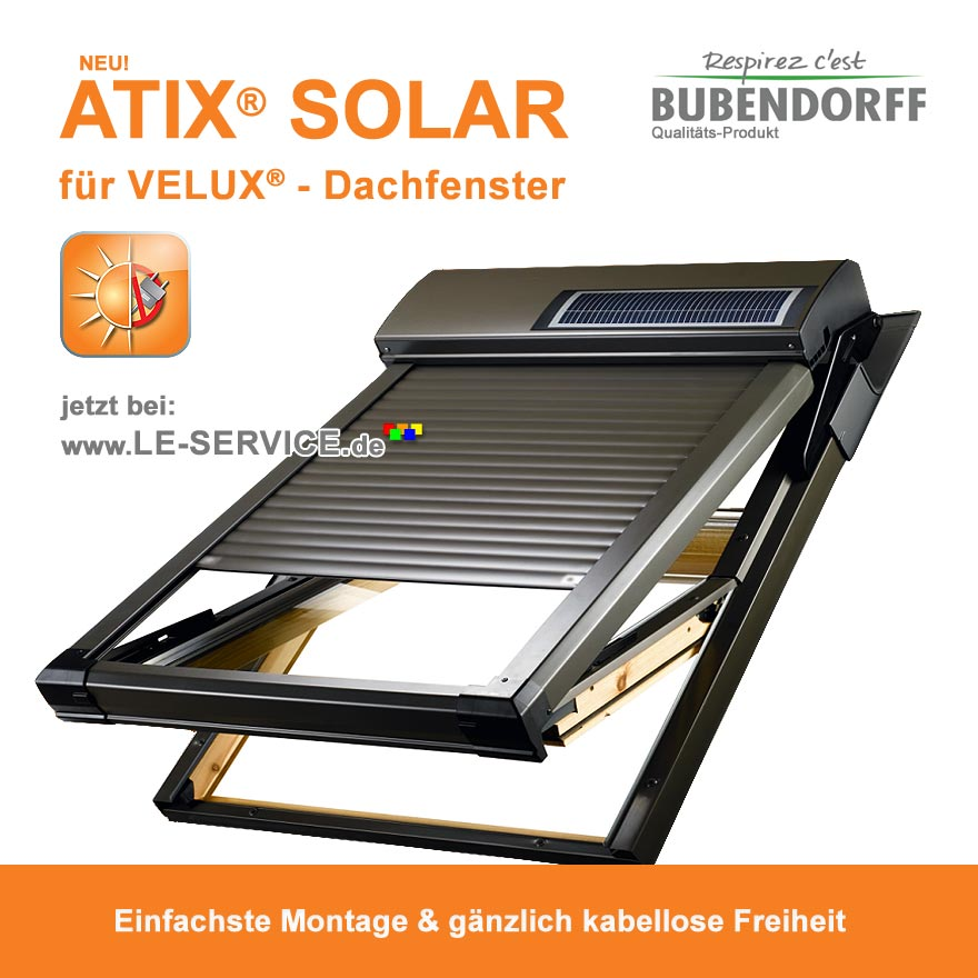 dachfensterrollladen atix solar fuer velux kabellos vom 14. Black Bedroom Furniture Sets. Home Design Ideas